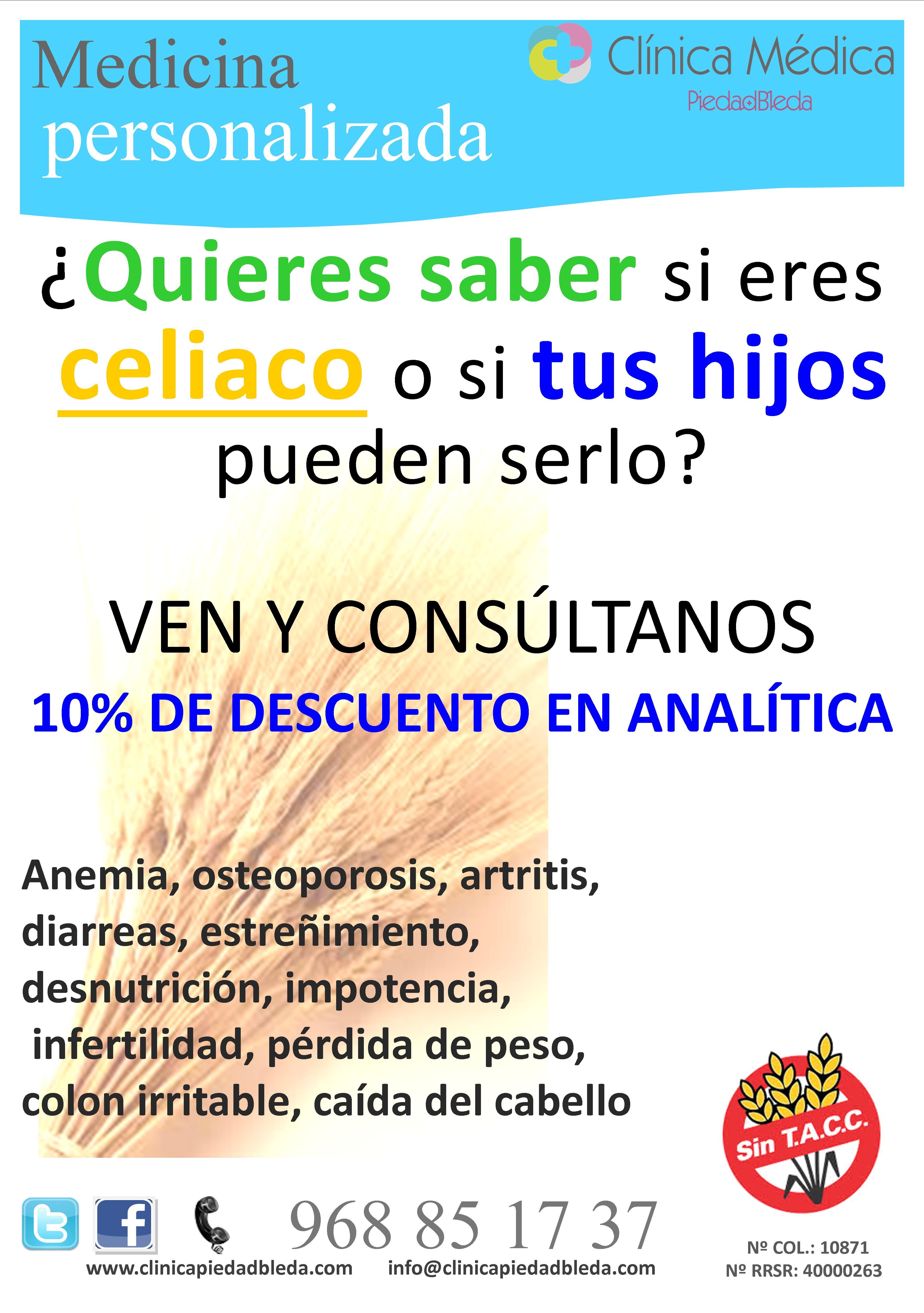 analitica celiaco en clinica Piedad Bleda